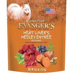 Evanger's Meat Lover's Medley with Rabbit Grain-Free Dry Dog Food, 16.5-lb bag