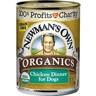 Newman's Own Organics Grain-Free 95% Chicken Dinner Canned Dog Food, 12.7-oz, case of 12