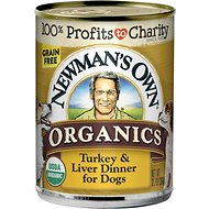 Newman's Own Organics Grain-Free 95% Turkey & Liver Dinner Canned Dog Food, 12.7-oz, case of 12