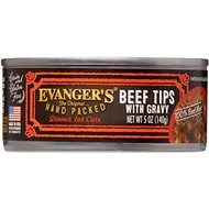 Evanger's Grain-Free Hand Packed Beef Tips with Gravy Canned Cat Food, 5-oz, case of 24