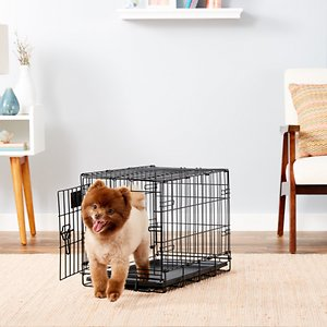 MidWest LifeStages Single Door Collapsible Wire Dog Crate, 22 inch; This MidWest Life Stages Single Door Dog Crate is designed completely around the safety, security and comfort of your dog. The Life Stages Single Door Dog Crate sets up easily with the fold and carry configuration that requires no use of tools and can be completed by almost anyone. This dog crate comes to you equipped with every feature you can think of; a composite plastic pan for easy cleanup in the event of an accident, plastic carrying handles to move the dog crate from one location to another comfortably, slide bolt latches for the safety and security of the pet inside and the furniture on the outside, and most importantly a Free divider panel for use while your puppy is still growing up.