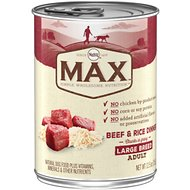Nutro Max Large Breed Adult Beef & Rice Dinner Chunks in Gravy Canned Dog Food, 12.5-oz, case of 12
