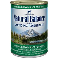 Natural Balance L.I.D. Limited Ingredient Diets Lamb & Brown Rice Formula Canned Dog Food, 13-oz, case of 12
