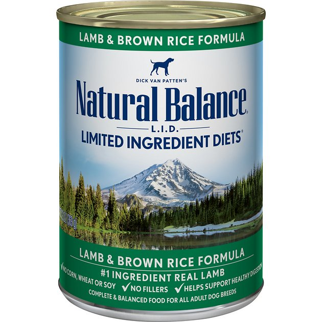 Natural Balance L.I.D. Limited Ingredient Diets Lamb & Brown Rice Formula Canned Dog Food, 13-oz, case of 12 - Chewy.com