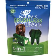 Ark Naturals Brushless Toothpaste Medium Dental Dog Chews, 18-oz bag