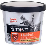 Nutri-Vet Hairball Formula Cheese & Chicken Flavor Cat Soft Chews, 3-oz bag