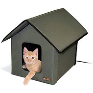 K H Pet Products Outdoor Heated Kitty House Olive