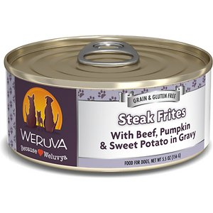 """Weruva Steak Frites with Beef, Pumpkin & Sweet Potatoes in Gravy Grain-Free Canned Dog Food, 5.5-oz, case of 24; Weruva is a line of luxurious natural and grain free pet foods. Made in a human food facility, they gathered the best ingredients from around the world to make the best food for your best friend - for life. The factory operates at international human food processing standards, including that of the super-strict British Retail Consortium (BRC), and the pet food processing must pass BRC scrutiny.rnrnThe gravy is what you'd expect it to be…simply Dog-tastic for those doggies that love to lick! The aspic is similar to Jello in that it starts off as a powder that is mixed with water, but when cooked, it takes on a gel like substance. It is great for """"protecting"""" the ingredients in that you are able to see and identify the ingredients that we use.rnrnFor all you French lovers out there... even the finickiest of dogs don\\\'t turn their nose up at this all beef treat... mixed with hearty sweet potatoes, carrot and pumpkin... chez magnifique!"""