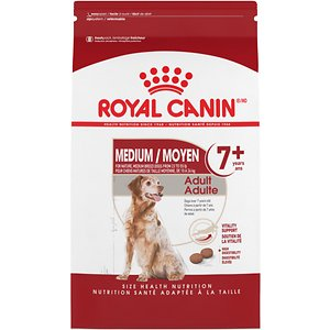 Royal Canin Size Health Nutrition Medium Adult 7+ Dry Dog Food, 30-lb bag; Medium-sized dogs are famous for their energy, and were historically working dogs. Whether your medium dog is an indoor companion or spends time hunting outdoors, Royal Canin Medium helps these dogs maintain natural defenses throughout their life, while providing the balanced energy the medium dog needs to maintain a healthy weight.