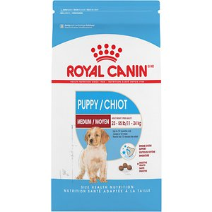 Royal Canin Medium Puppy Dry Dog Food, 6-lb bag; Medium-sized dogs are famous for their energy, and were historically working dogs. Whether your medium dog is an indoor companion or spends time hunting outdoors, Royal Canin Medium helps these dogs maintain natural defenses throughout their life, while providing the balanced energy that medium dog needs to maintain a healthy weight.