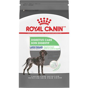 Royal Canin Large Digestive Care Dry Dog Food, 30-lb bag; If your big buddy has a sensitive stomach, look no further than Royal Canin Large Digestive Care Dry Dog Food! Specially formulated with prebiotics, dietary fibers and easily digestible proteins, this dog food delivers targeted nutrition to all large breeds. It's designed to promote healthy gut flora and excellent stool quality, which are both signs of digestive health in canines. Depending on your furry friend's dining preferences, this dry dog food can be mixed with wet food before eating. Bone appetit!