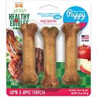 Nylabone Healthy Edibles Longer Lasting Triple Pack Puppy Lamb & Apple Flavor Dog Bone Treats, Small, 4.5-in (3-pack)