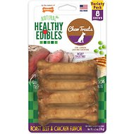 Nylabone Healthy Edibles Longer Lasting Assorted Flavors Dog Bone Treats, Petite bone chews, 8 count