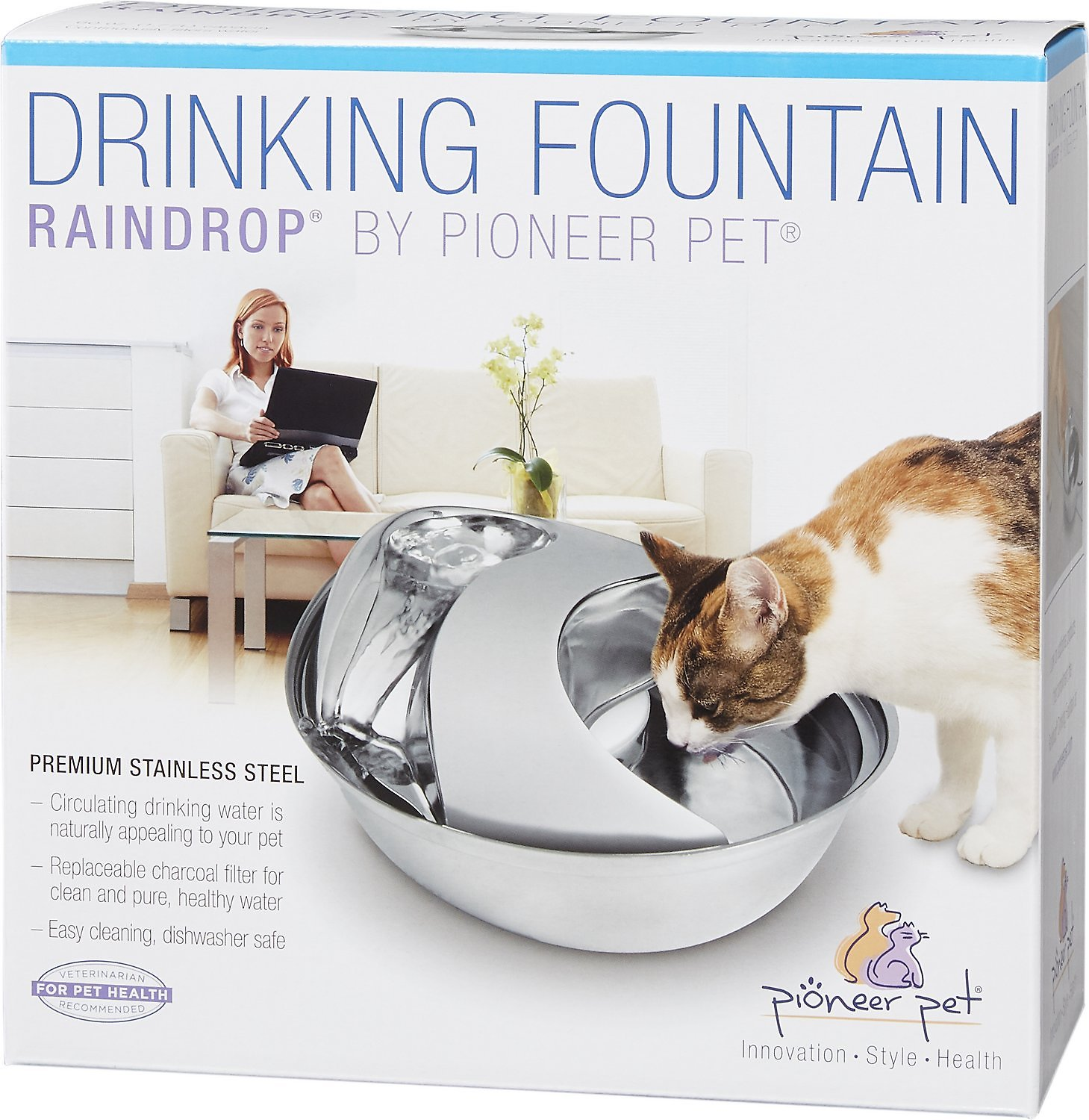 Pioneer Pet Stainless Steel Drinking Fountain Raindrop Design 60 Oz