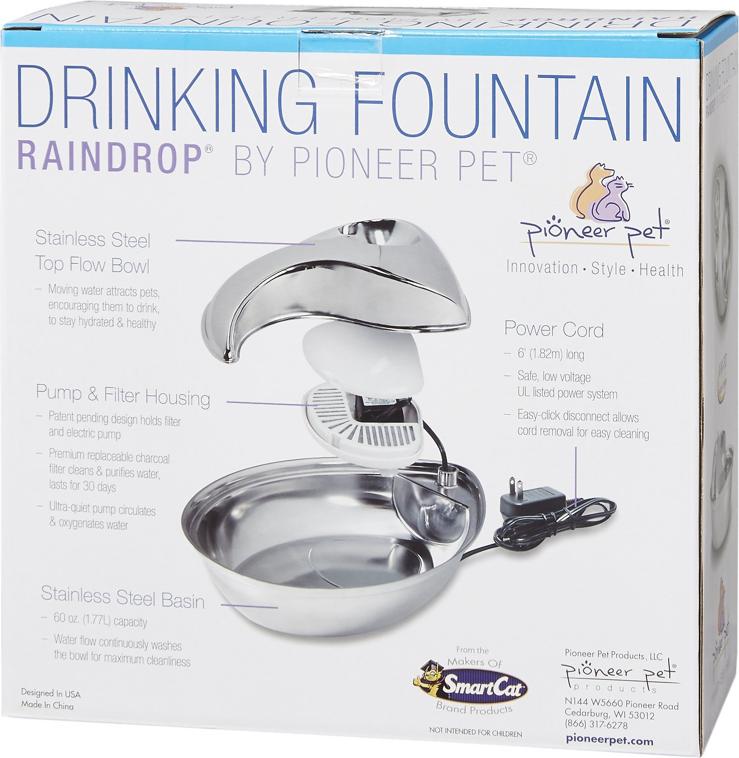 Pioneer Pet Stainless Steel Dog Cat Fountain Raindrop Design 60 Oz Chewy Com