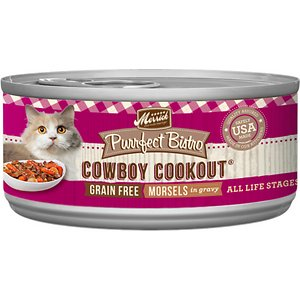 Merrick Purrfect Bistro Grain-Free Cowboy Cookout Morsels in Gravy Canned Cat Food, 5.5-oz, case of 24; Serve up the kitty version of a cowboy favorite for your pal with the Merrick Purrfect Bistro Grain-Free Cowboy Cookout Morsels in Gravy Canned Cat Food. It's packed with high-protein morsels of tender beef, mixed with tasty potatoes and peas, and cooked in whisker-licking, hydrating gravy. Loaded with antioxidants to support immunity, omegas for a healthy skin and coat, plus vitamins, minerals and taurine in every bite, it's sure to fuel all your kitty's adventures, and then yum! Plus, it has zero grains, artificial colors, flavors or preservatives so you can let kitty dive right into his bowl.