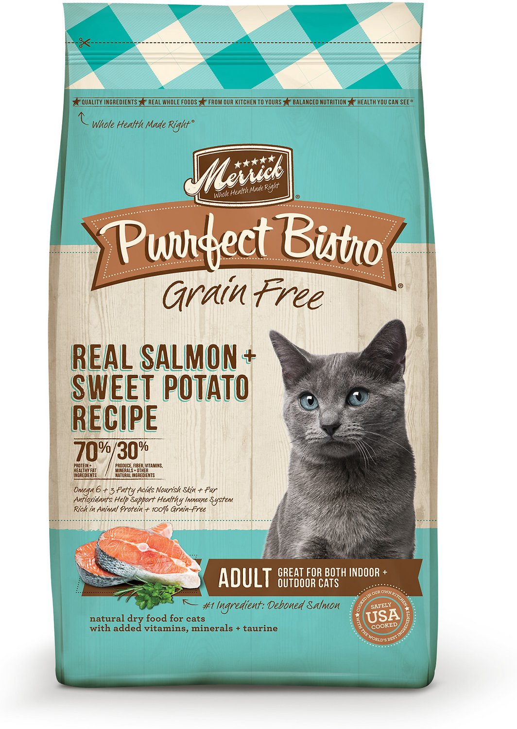 Merrick Purrfect Bistro Grain Free Real Salmon Recipe Adult Dry Cat