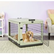 Pet Gear The Other Door Double Door Collapsible Wire Dog Crate & Plush Pad, Sage
