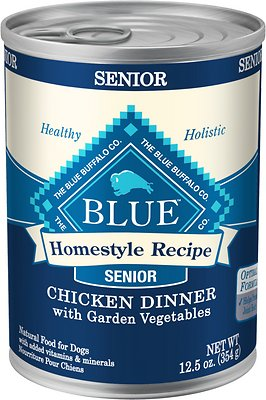 Blue Buffalo Homestyle Recipe Senior Chicken Dinner with Garden Vegetables Canned Dog Food, 12.5-oz, case of 12