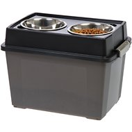 IRIS Elevated Feeder with Airtight Food Storage, Smoke/Black
