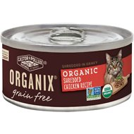 Castor & Pollux Organix Grain-Free Organic Shredded Chicken Recipe in Gravy All Life Stages Canned Cat Food, 5.5-oz, case of 24