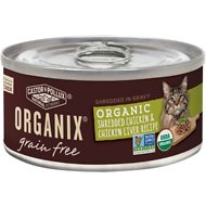 Castor & Pollux Organix Grain-Free Organic Shredded Chicken & Chicken Liver Recipe in Gravy All Life Stages Canned Cat Food, 3-oz, case of 24