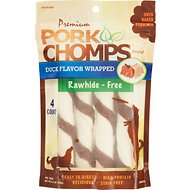 Premium Pork Chomps Duck Flavor Wrapped Twists Dog Treats, Large, 4 count