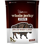 Fruitables Whole Jerky Grilled Bison Strips Dog Treats, 5-oz bag