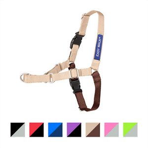 PetSafe Easy Walk Dog Harness, Fawn/Brown, Small; No more pulling on the leash? Sounds pretty perfect! Enjoy lunge-free walks around the block with the PetSafe Easy Walk Black & Silver Dog Harness. Instead of pulling on your dog\\\'s sensitive throat, the Easy Walk Harness attaches  near the chest, allowing you to steer your pup and regain control over the daily walk. Available in multiple sizes to fit any breed.