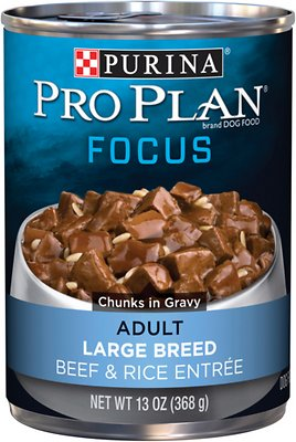 4. Purina Pro Plan Focus Adult Large Breed Beef & Rice Entree Chunks in Gravy Canned Dog Food