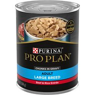Purina Pro Plan Focus Adult Large Breed Beef & Rice Entree Chunks in Gravy Canned Dog Food, 13-oz, case of 12