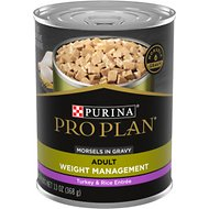 Purina Pro Plan Focus Adult Weight Management Turkey & Rice Entree Morsels in Gravy Canned Dog Food, 13-oz, case of 12