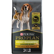 Purina Pro Plan Savor Adult Shredded Blend Weight Management Formula Dry Dog Food, 34-lb bag