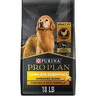 Purina Pro Plan Adult 7+ Shredded Blend Chicken & Rice Formula Dry Dog Food, 18-lb bag