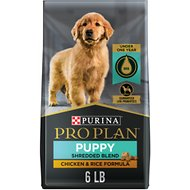 Purina Pro Plan Puppy Shredded Blend Chicken & Rice Formula with Probiotics Dry Dog Food, 6-lb bag