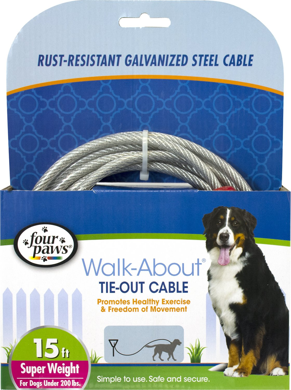 Four Paws Super Weight Tie Out Cable 15 Ft Chewy Com