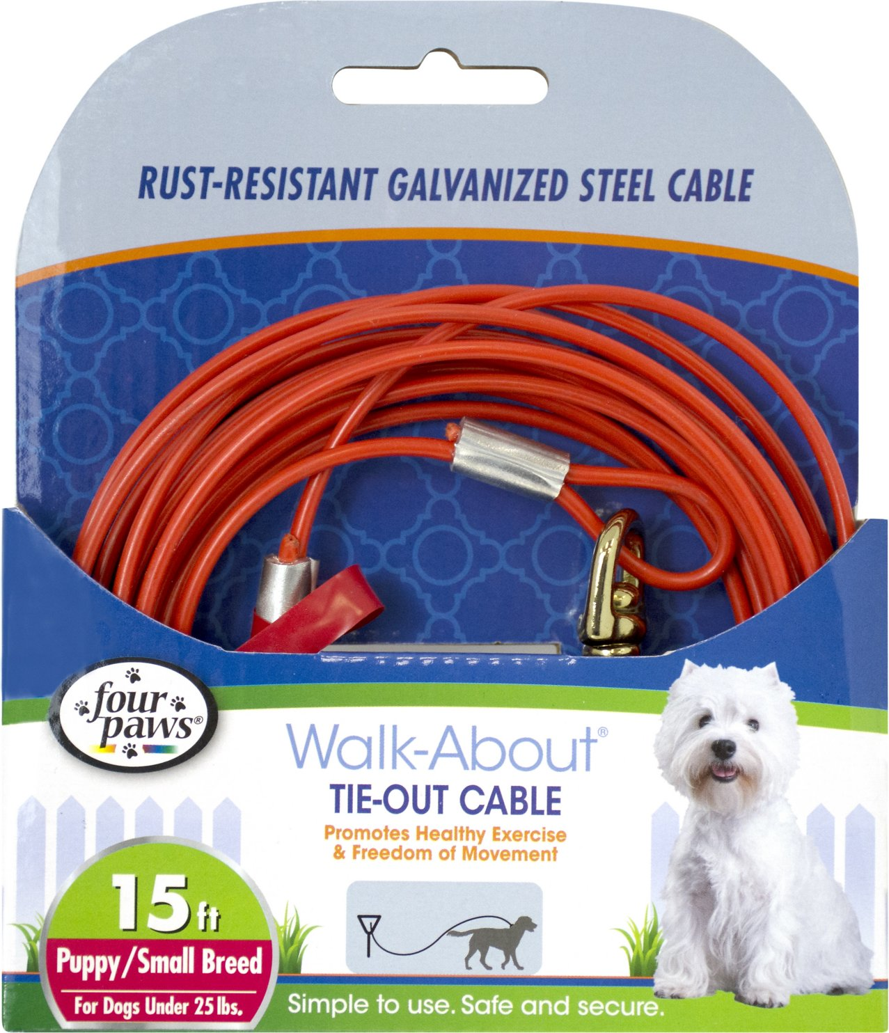 Four Paws Puppy Tie Out Cable Orange 15 Ft Wire Harness Clips Video
