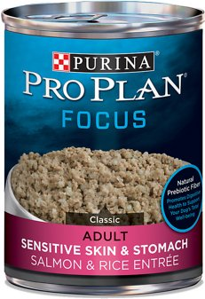 8. Purina Pro Focus Salmon and Rice Recipe for Sensitive Skin & Stomach Canned Dog Food