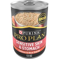 Purina Pro Plan Focus Adult Classic Sensitive Skin & Stomach Salmon & Rice Entree Canned Dog Food, 13-oz, case of 12