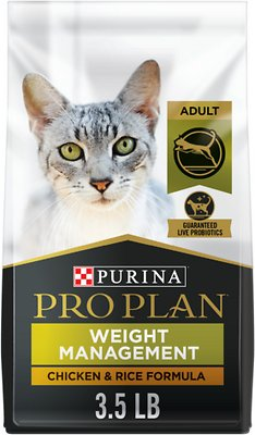 Purina Pro Plan Focus Adult Weight Management Chicken & Rice Formula Dry  Cat Food, 3 5-lb bag