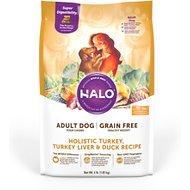 Halo Holistic Turkey, Turkey Liver, & Duck Recipe Grain-Free Healthy Weight Adult Dry Dog Food, 4-lb bag