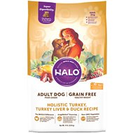 Halo Holistic Turkey, Turkey Liver, & Duck Recipe Grain-Free Healthy Weight Adult Dry Dog Food, 14-lb bag