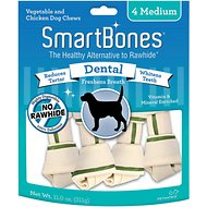 SmartBones Medium Dental Chew Bones Dog Treats, 4 pack