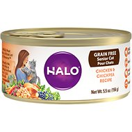 Halo Chicken & Chickpea Recipe Grain-Free Senior Canned Cat Food, 5.5-oz, case of 12