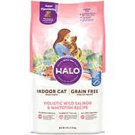 Halo Holistic Wild Salmon & Whitefish Recipe Grain-Free Healthy Weight Indoor Cat Dry Cat Food, 6-lb bag