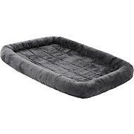MidWest Quiet Time Fleece Pet Bed and Crate Mat, Gray, 42-in