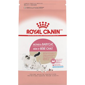 Royal Canin Mother & Babycat Dry Cat Food for Newborn Kittens, Pregnant & Nursing Cats, 3.5-lb bag; Royal Canin Mother & Babycat Dry Cat Food is thoughtfully formulated for newborn kittens and pregnant or nursing cats! A newborn kitten requires its mother's milk to form protective antibodies for natural defense. Transitioning into solid foods is vitally important as his immune system is still in the development stage. Purrvide the nutrition he needs to develop strong bones, teeth and a healthy immune and digestive system.  This grain-free mixture is packed with immune system strengthening antioxidants and vitamins, plus essential nutrients such as DHA for brain development. To transition your kitten to solid food, simply rehydrate with warm water to satisfy his growing appetite.
