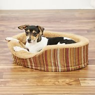 Petmate Striped Chenille & Plush Antimicrobial Pillow with Microban Deluxe Pet Bed, Mini Oval, Color Varies