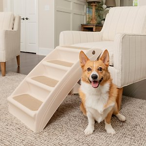 PetSafe CozyUp Folding Dog & Cat Stairs, Large; Help your best buddy go where the snuggles are with the PetSafe CozyUp Folding Pet Steps, Plastic. These folding steps help your furry friend get on and off furniture with greater ease—perfect for smaller pals or older pals with sensitive joints. These steps weigh only five pounds so they are lightweight and easy to move around the house. They feature fabric covers, side rails and non-skid feet to help prevent slipping and wobbling. They are also super-durable and able to support companions up to 150 pounds.  And when your pal isn't using them they can be easily folded and stored. It's just what your best bud needs to enjoy her favorite cuddle spot!
