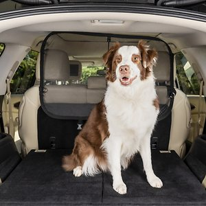 PetSafe Happy Ride Cargo Area Net Pet Barrier; Yes, it is paw-sible to keep your pooch in his place while you're driving! PetSafe's Cargo Area Net Pet Barrier prevents your pup from making his way to the front seat. It installs easily in your car, SUV or truck and stays securely in its place with straps, support rod and seat anchors. The mesh construction allows your pooch to have a view of his favorite person, and you can see out of the rearview mirror. PetSafe knows your pooch isn't always your passenger, so it collapses for easy storage. Simply pop it back up when he's riding with you again. It even has pockets so you can keep travel essentials handy, like his leash and poop bags.
